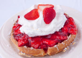 Fresh Strawberry-topped Waffles